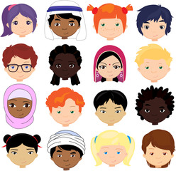 Boys and girls of different nationalities. Multinational childre