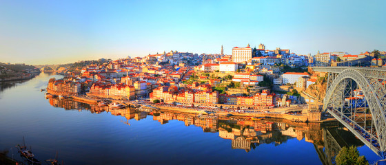 Beautiful view of the Ribeira in Porto - Portugal