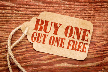 buy one get one free - price tag