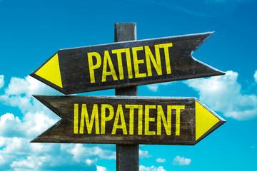 Patient - Impatient signpost in a beach background