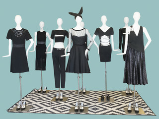 Group of mannequin wear fashion clothing