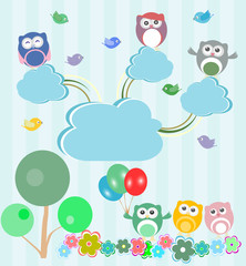 Birds and owls in spring forest. Vector set