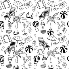Hand drawn Travel seamless pattern for adult coloring pages in d