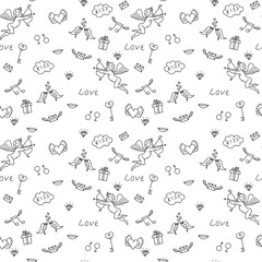 Love seamless pattern for St. Valentine's Day, for adult colorin