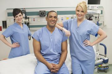 Nurses smiling in hospital
