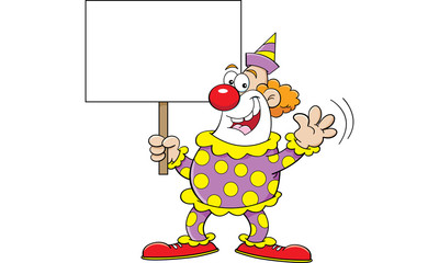 Cartoon illustration of a clown holding a sign.