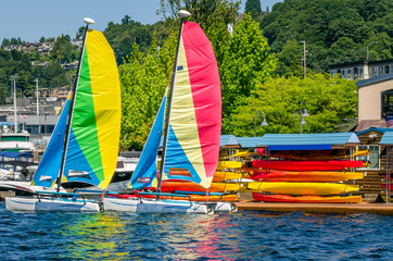 Colourful Sailboats moored to a Jetty
