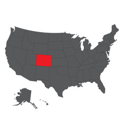 Colorado red map on gray USA map vector