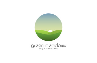 Ecological natural landscape - eco logo template. Sun on the background of green hills - a symbol ecological organic production and agriculture. Logo template.
