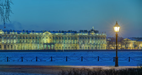 Building Hermitage Museum of Saint Petersburg, Russia winter eve