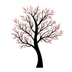 Vector tree with colorful leaves