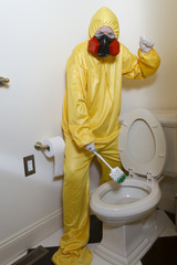 Ready to clean hazardous toilet