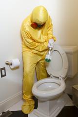 Cleaning Haz Mat toilet
