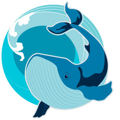 The whale amid the waves of the sea. The symbol of Feng Shui
