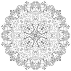 Mandala, circular ornament with stars, month, fire and flowers