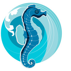 Sea horse on the background of sea waves. The symbol of Feng Shu
