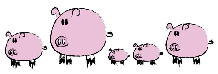 5 pigs drawing