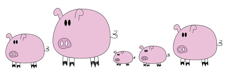 5 pigs cute