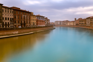 Sunset On Arno River Pisa Italy