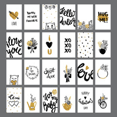 Romantic and love cards collection with lettering. Valentine's Day backgrounds.