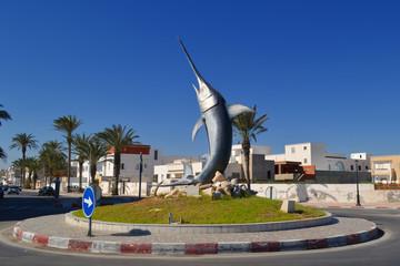 Monument swordfish on the roundabout in Mahdia - Tunisia