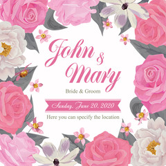 Flower wedding invitation card, save the date card, greeting card. EPS 10