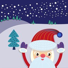 Christmas Eve Landscape with Santa Claus and Xmas Tree Greeting Card. Winter Scenery. Winter Holidays Kids Book illustration. Santa Claus Service Flyer. Digital background vector Banner.