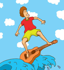 Young man surfing on a guitar