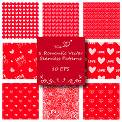 Seamless Red Love Pattern Background Set for All Purposes: Saint Valentine's Day, Birthday, Wedding, Engagement and Other Romantic Events
