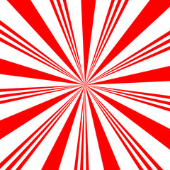 Red white sunbeam background. Red striped abstract wallpaper. Peppermint candy pattern texture. Vector illustration