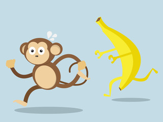 monkey run away from big banana