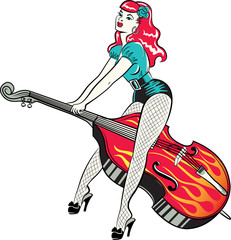 Rockabilly pinup girl sitting on a hotrod painted with flames against a starry night sky