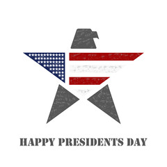 American Presidents Day background with star and national bird eagle in flag colors