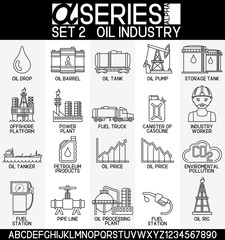Set of oil industry icons