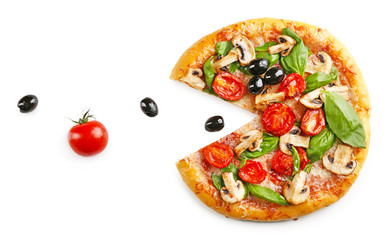 Sliced delicious tasty pizza, isolated on white