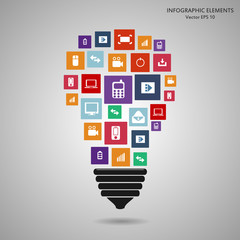 Modern light bulb with cloud of colorful application icon. Vector illustration creative template design, Business software and social media concept.