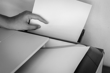 Hand holding paper sheets into printer tray