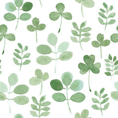 watercolor clover and leaf seamless pattern