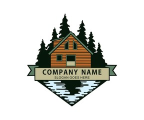 cabin in the woods river lake side logo