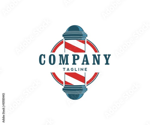 quotbarber pole logo blue and redquot stock image and royalty