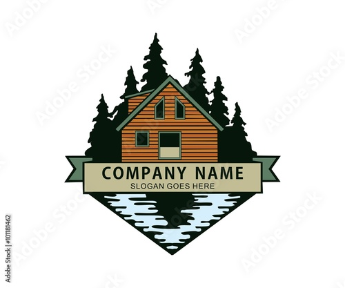 Cabin In The Woods River Lake Side Logo Stock Image And