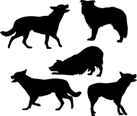 five black isolated dog silhouettes