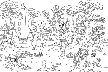 Line Art / Coloring Book Illustration for Children: The Boy and Alien Girl on Alien Planet. Realistic Fantastic Cartoon Style Artwork Scene, Wallpaper, Story Background, Card Design