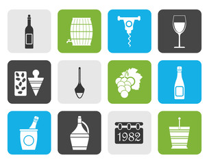 Flat Wine Icons - Vector Icon Set