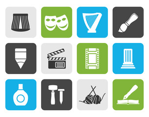 Flat Different kind of art icons - vector icon set