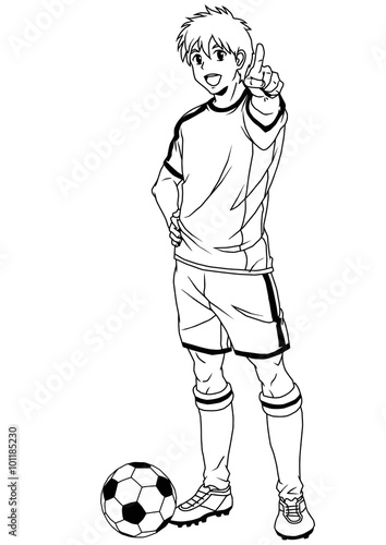 Soccer player black and white