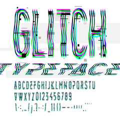 Typographic glitch font with digital image data distortion, digital decay, vector illustration.