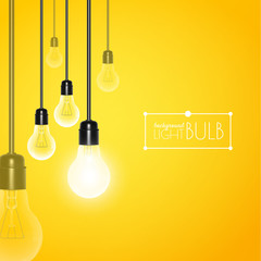 Hanging light bulbs with glowing one on yellow background. Vector illustration for your design.