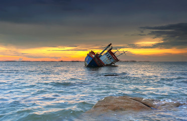 Door stickers Shipwreck ship wrecked at sunset in Chonburi ,Thailand