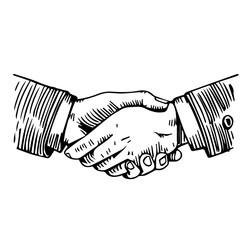 Handshake engraving on white
